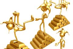 黄金3D小人与金条矢量素材