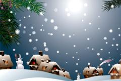2款精美卡通风格雪景矢量素材