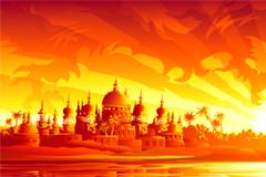 泰国黄昏美丽风景矢量素材