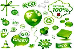 精美绿色环保图标矢量图