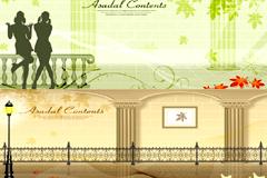 欧式长廊建筑插画矢量素材