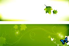 几款清新绿叶banner背景矢量素材
