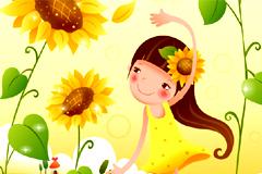 可爱卡通草莓和向日葵女孩矢量素材