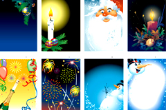 多款圣诞主题插画背景矢量素材