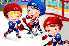 卡通儿童曲棍球运动矢量素材