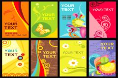 多款缤纷个性花纹卡片模板矢量素材