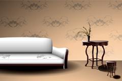 古典欧式家具和背景矢量素材