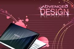 一款精美电脑笔记本广告设计矢量素材