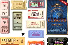 多款国外怀旧风格电影票矢量素材