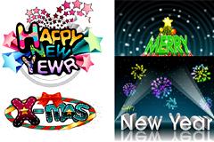 多款圣诞快乐和新年快乐字体矢量素材