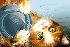玩耍的可爱小猫矢量素材