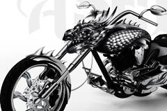 漫画风格超酷金属龙头摩托车矢量素材