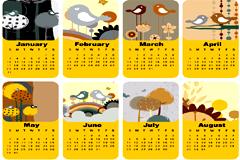 可爱卡通小鸟2010年日历矢量素材