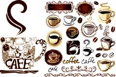 欧式风格咖啡主题元素矢量素材
