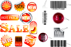 销售标签和条形码吊牌矢量素材