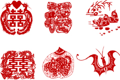 中国传统吉祥剪纸图案矢量素材