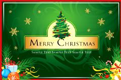 一款精美绿色圣诞贺卡矢量素材