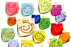可爱儿童表情便签矢量素材