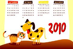 卡通风格2010年日历矢量素材