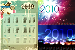 几款风格各异的2010年日历矢量素材