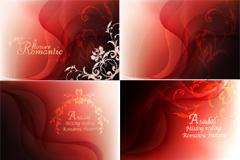 红色梦幻烟雾花纹背景矢量素材