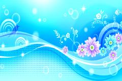 韩国梦幻蓝色花鸟背景矢量素材
