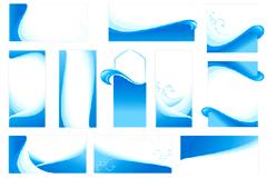 蓝色波浪线空白卡片模板矢量素材