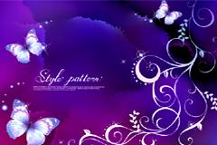 紫色梦幻蝴蝶花纹背景矢量素材