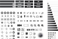 各种黑白实用网页设计按钮与小图标矢量素材