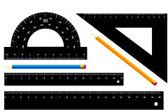 写实风格常用测量文具矢量素材
