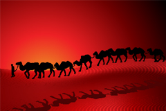 沙漠中的骆驼剪影矢量素材