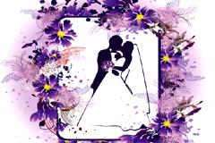 一款婚礼主题花纹花边矢量素材