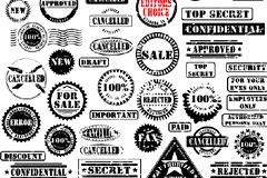 数款黑白各国邮戳和印章矢量素材