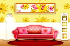 一款时尚暖色调家居设计矢量素材