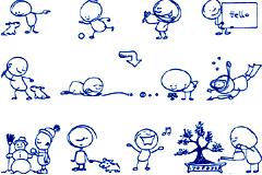 可爱卡通圆珠笔绘画小人儿矢量素