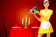 可爱餐厅服务员小姐矢量素材