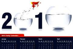 创意金鱼鱼缸2010年日历矢量素材
