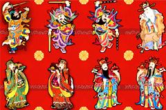 中国传统门神财神年画矢量素材
