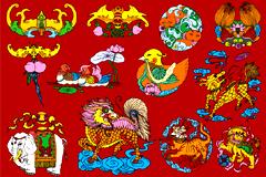 多款中国民间传统吉祥图案矢量素材