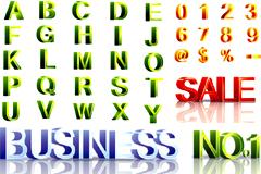 精美立体字母和数字矢量素材