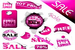 一组紫色调打折销售标签矢量素材