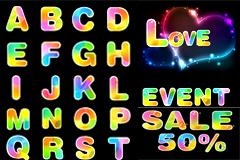 梦幻缤纷彩虹字母和数字矢量素材