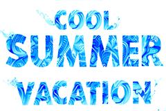 蓝色清凉夏日主题英文字母矢量素材