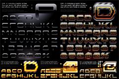 几组华丽金属质感英文字母和数字矢量素材