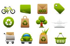 一组简洁绿色环保图标矢量素材
