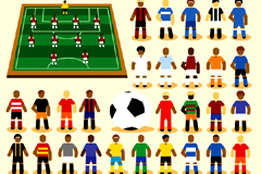 卡通足球运动人物矢量素材