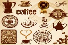 各种欧式风格咖啡元素矢量素材