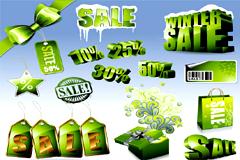 一组创意绿色销售打折图标矢量素材
