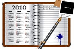 带有日历的记事本矢量素材