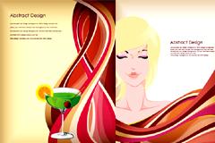 美女红酒和动感线条背景矢量素材